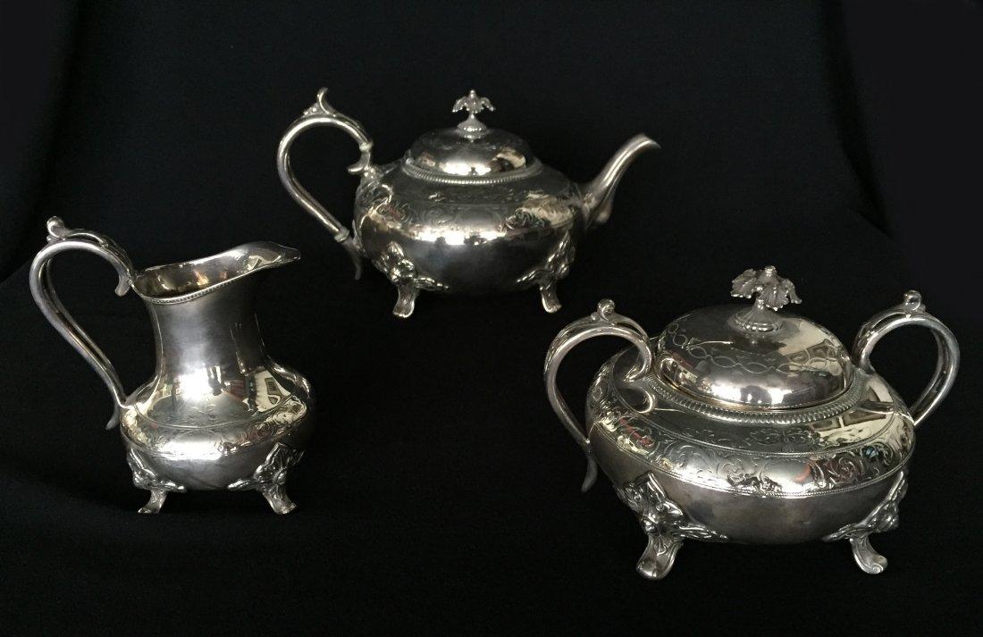 (3pc) 1860 Christofle, James Dixon & Sons Tea Set