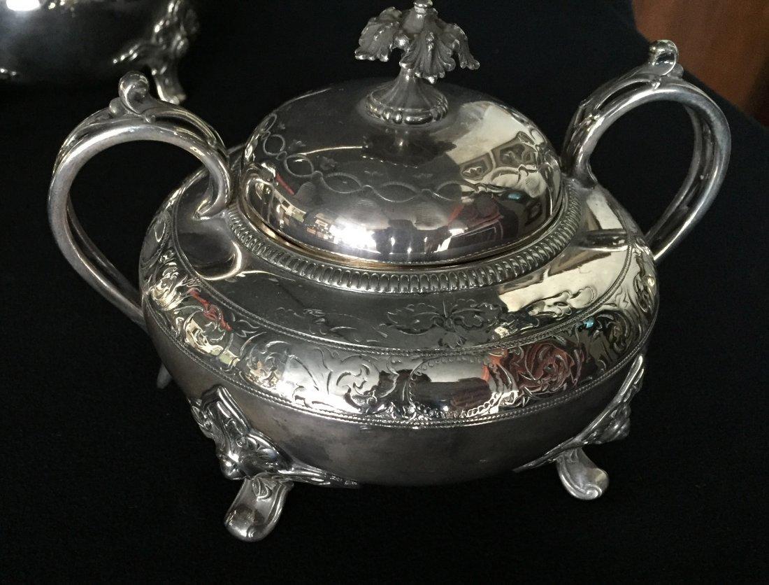 (3pc) 1860 Christofle, James Dixon & Sons Tea Set - 2
