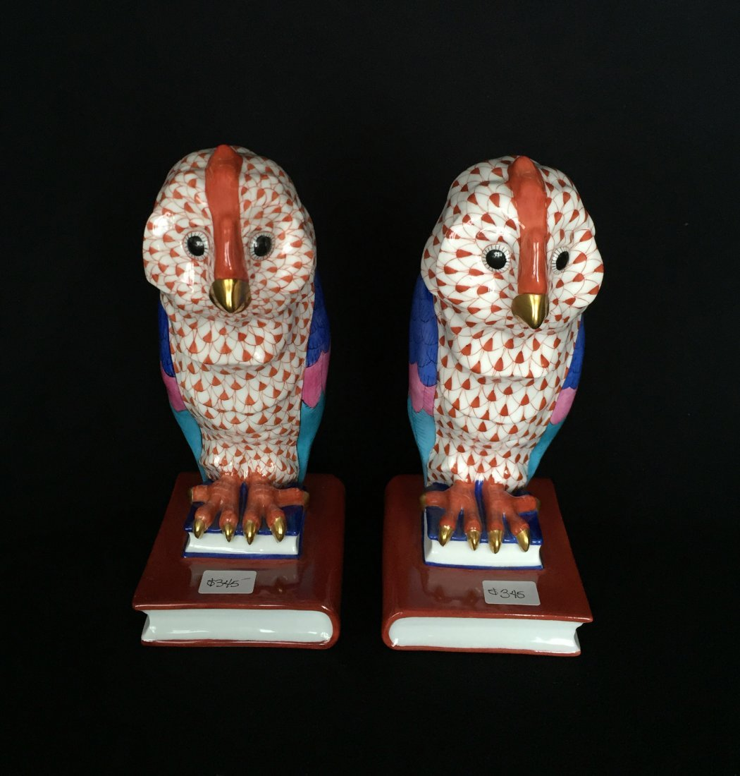 (2) Herend Ceramic Owls