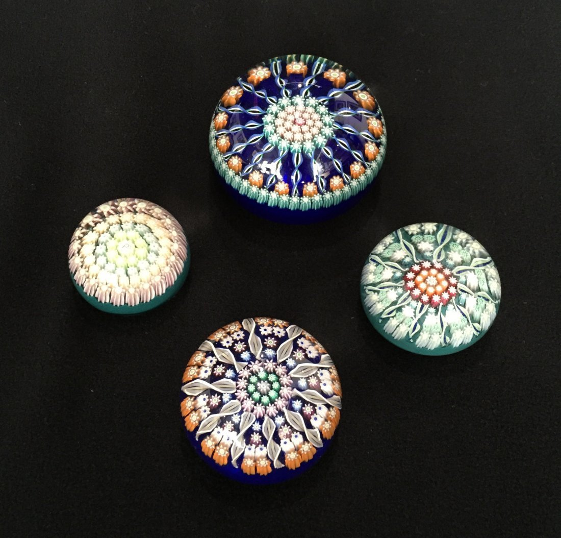 (4) Perthshire Glass Millefiori Paperweights