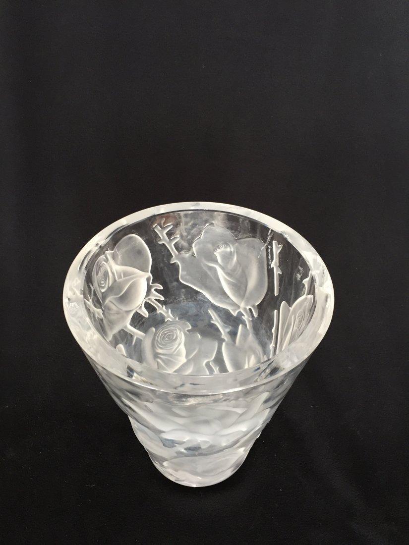 Lalique Crystal Rose Vase - 2