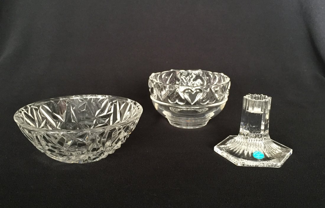 (3pcs) Tiffany & Co. Bowls and Candle Stick