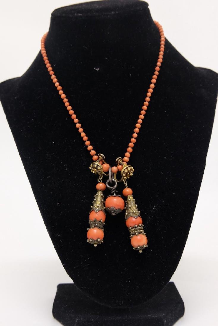Chinese Coral Necklace and Drop Earrings