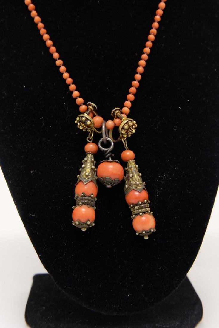 Chinese Coral Necklace and Drop Earrings - 2