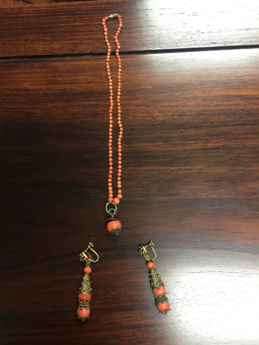 Chinese Coral Necklace and Drop Earrings - 3
