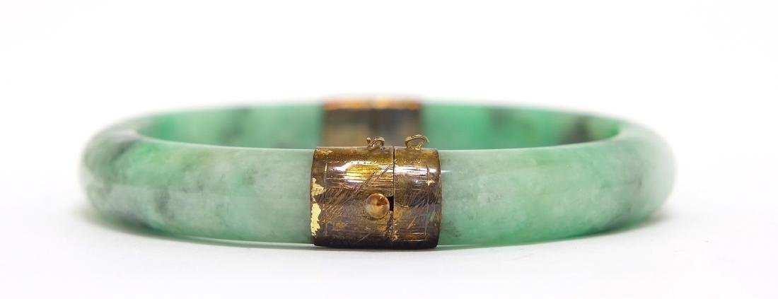 Chinese Jadeite Bangle Inset in Silver