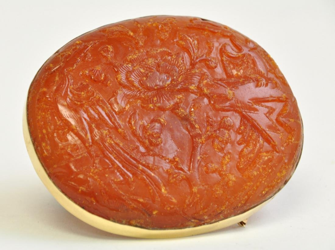Chinese Amber Brooch - 4