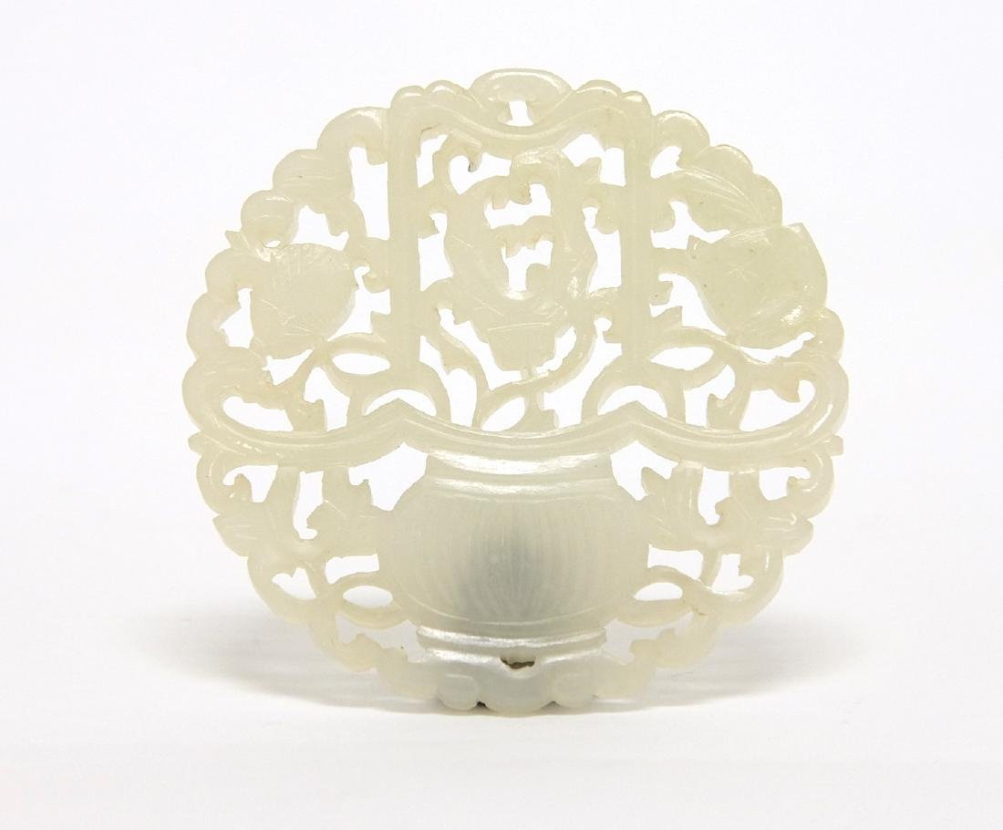 Chinese Round White Jade Plaque