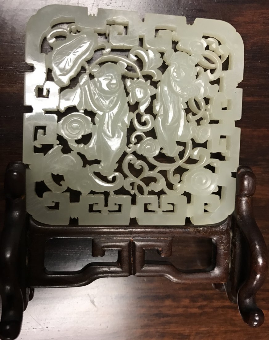 Chinese Extra White Jade Plaque - 10