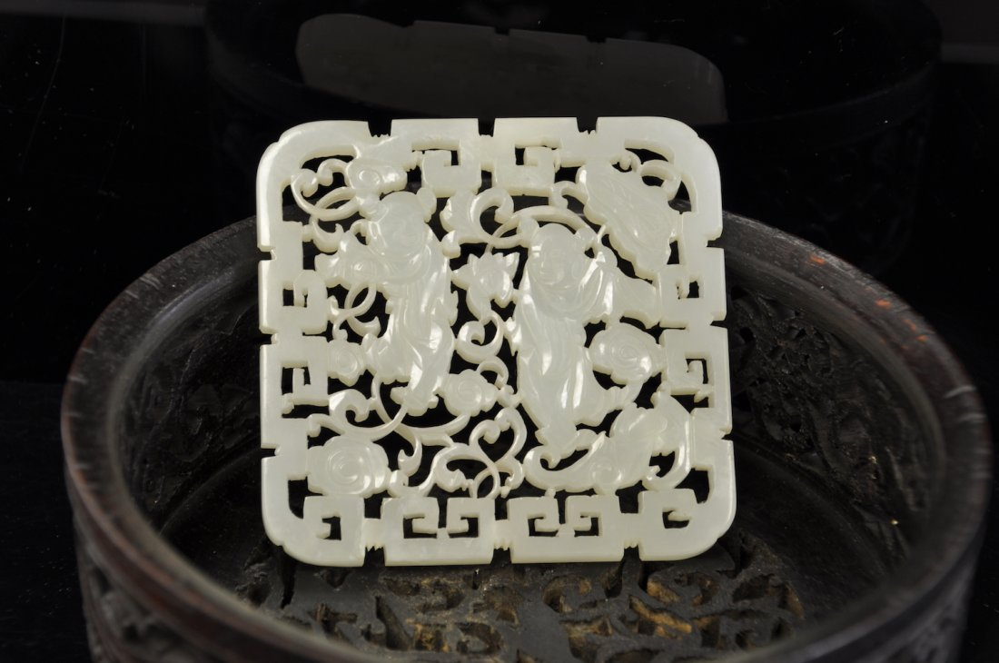 Chinese Extra White Jade Plaque - 6