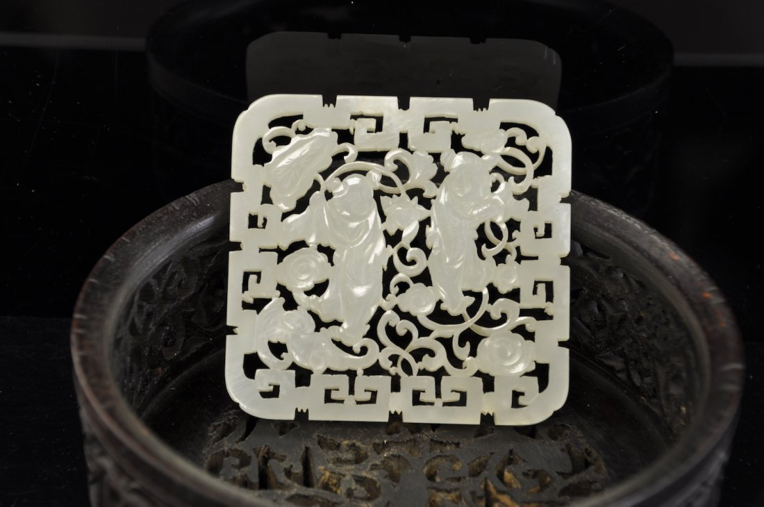 Chinese Extra White Jade Plaque - 7