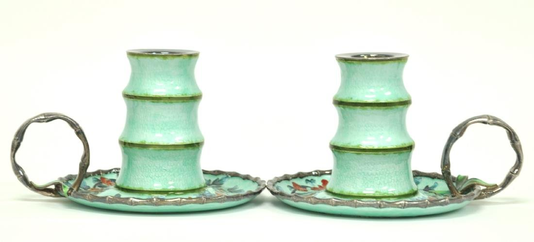 Chinese Pair of Silver Candle Holders