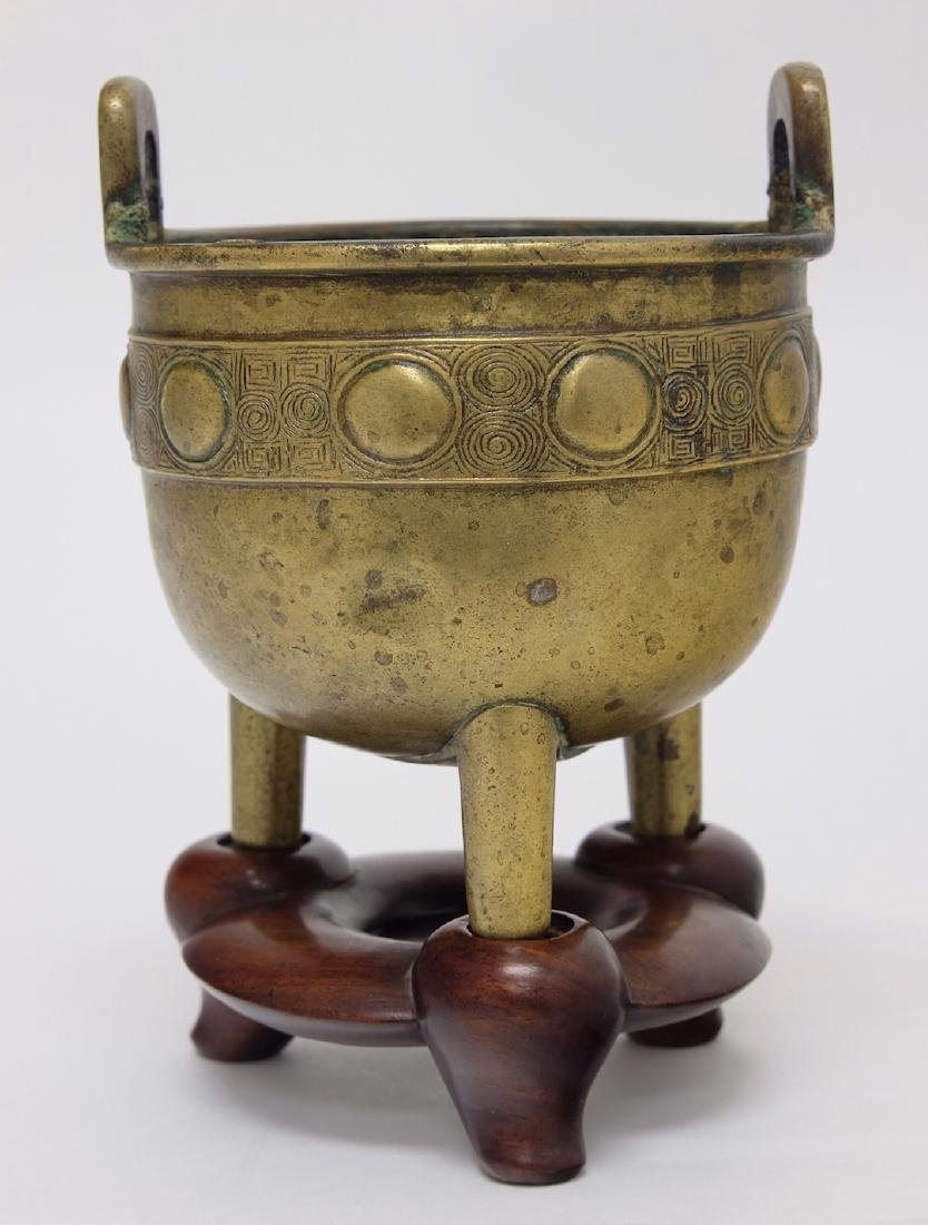 Chinese Bronze Tripod Incenser with Stand