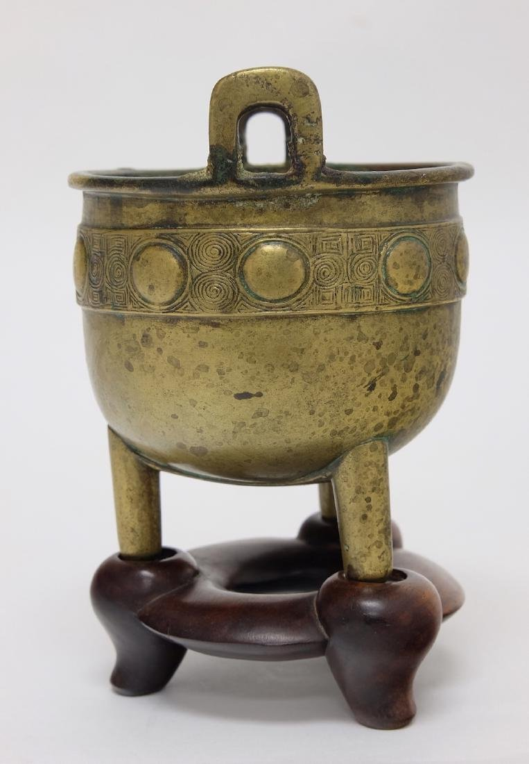 Chinese Bronze Tripod Incenser with Stand - 2