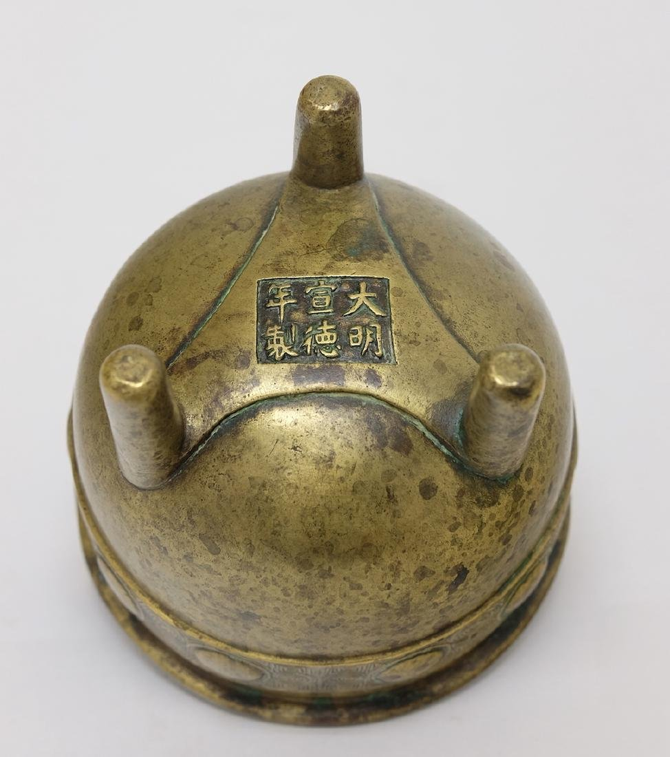 Chinese Bronze Tripod Incenser with Stand - 3