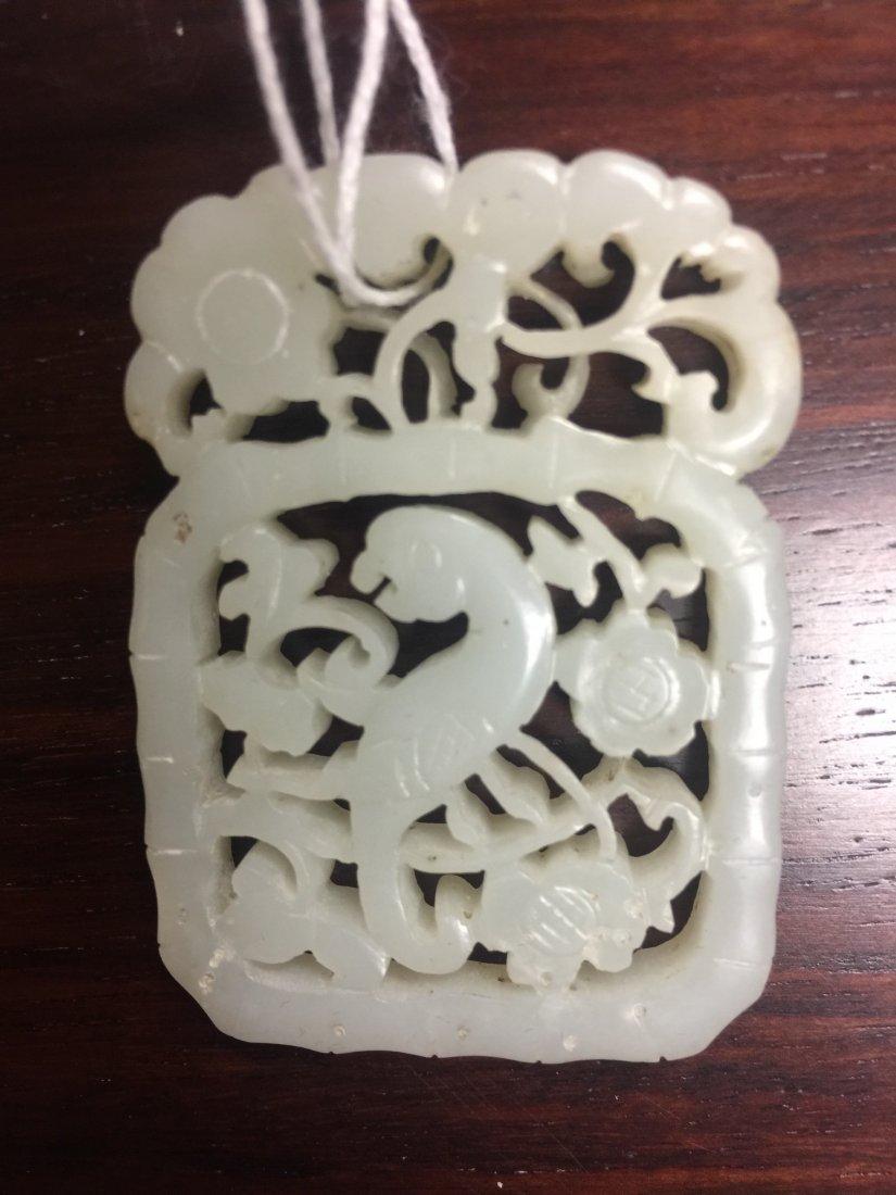 Chinese White Jade Birds Plaque - 4