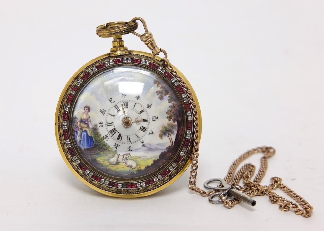 Chinese Qianlong Enamel Pocket Watch