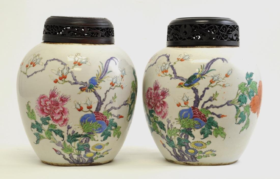 Chinese Pair of Famille Rose Jars