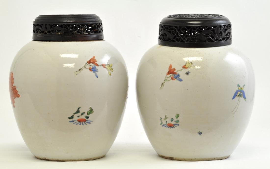Chinese Pair of Famille Rose Jars - 4