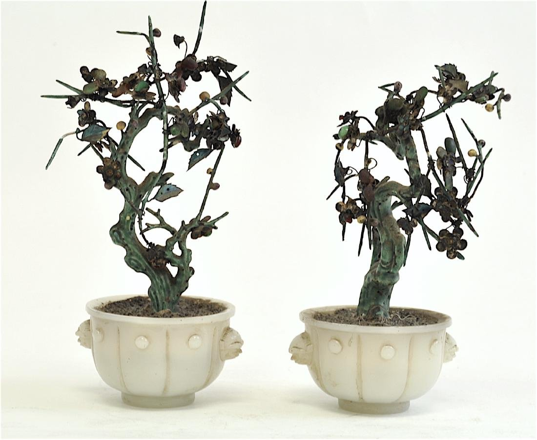 Chinese Pair Pekin Glass with Silver Trees