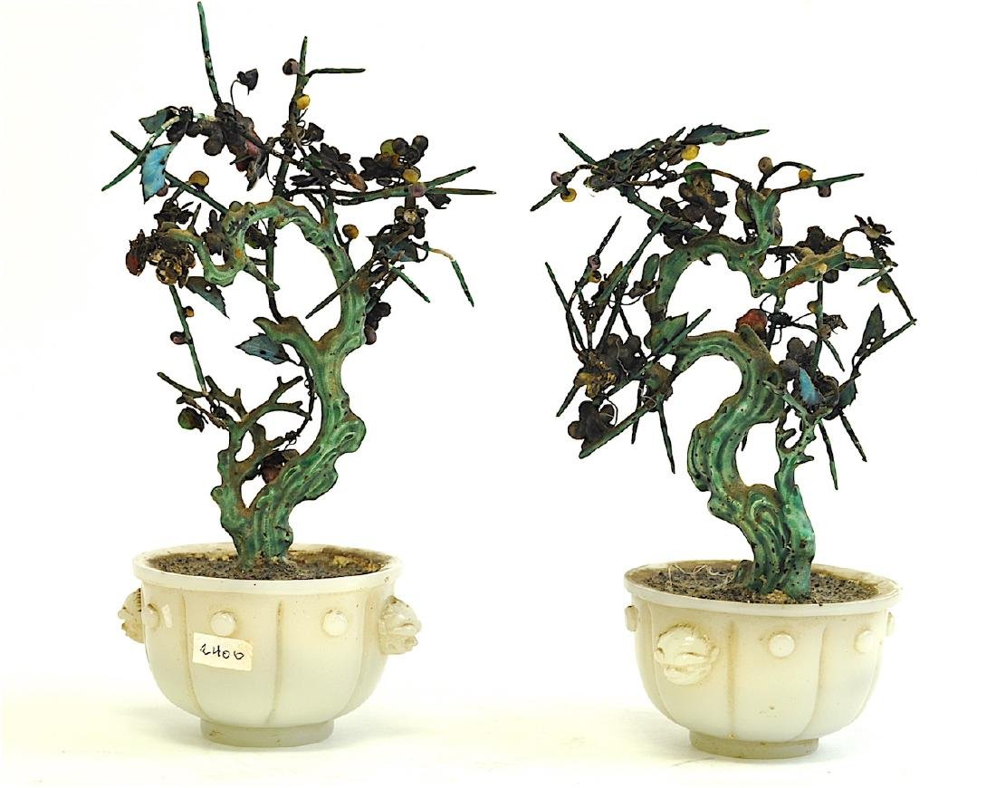 Chinese Pair Pekin Glass with Silver Trees - 2