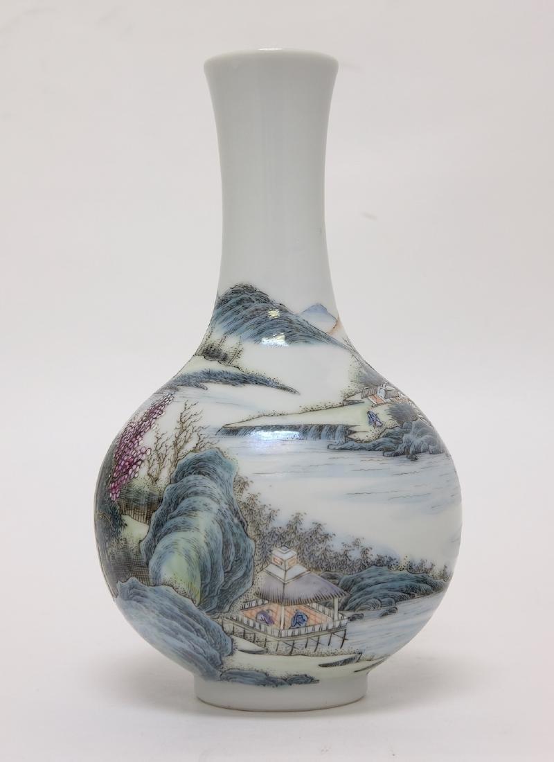 Chinese Famille Noire Bottle Vase - 2