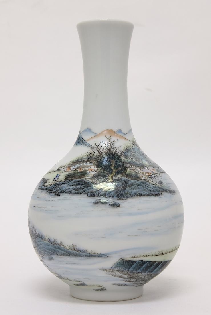 Chinese Famille Noire Bottle Vase - 3