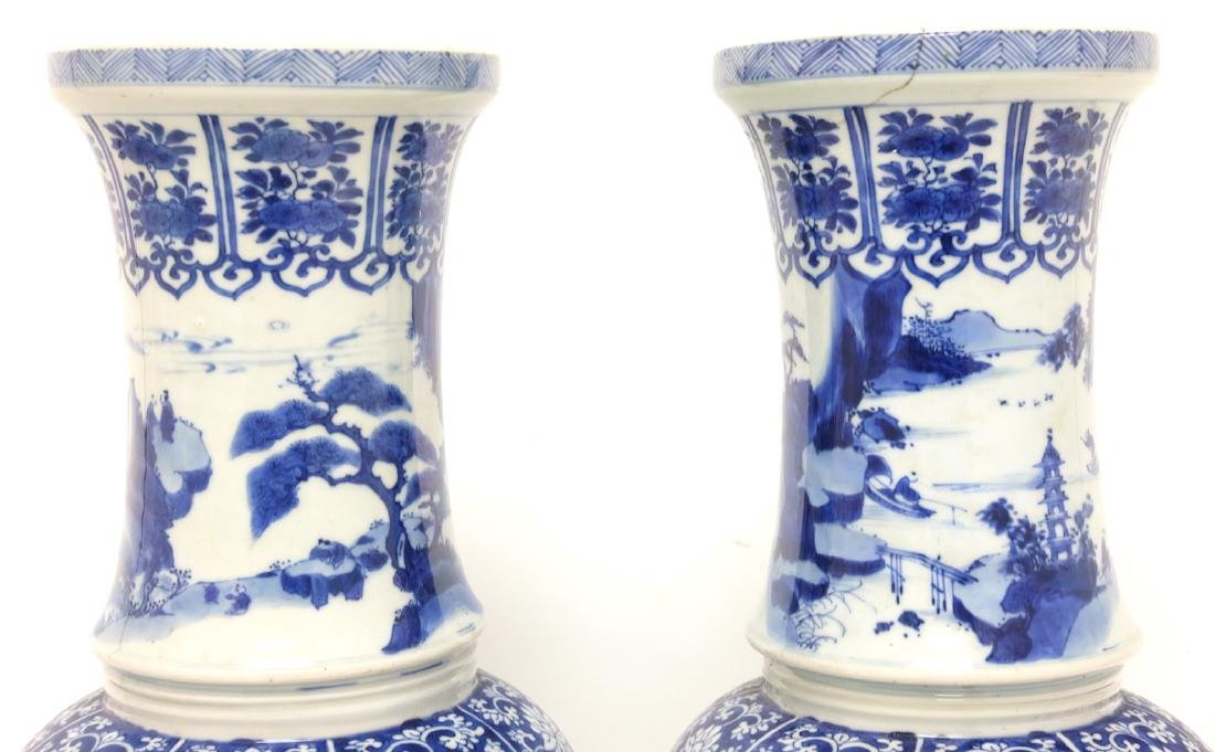 Chinese Pair of Blue-white Vases - 11
