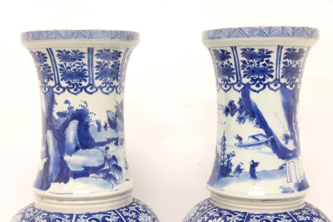 Chinese Pair of Blue-white Vases - 12