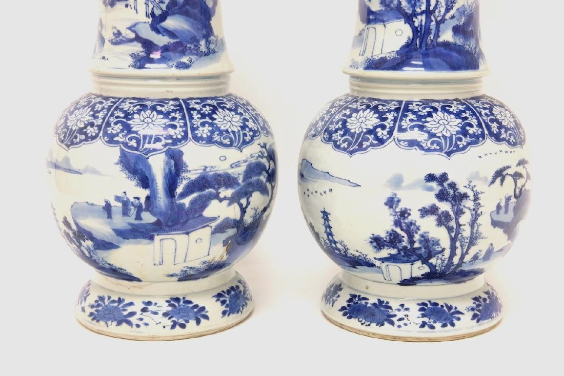 Chinese Pair of Blue-white Vases - 13
