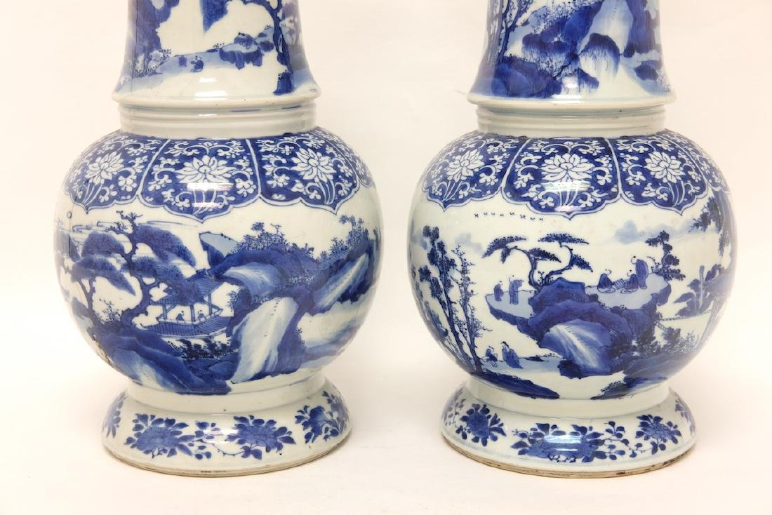 Chinese Pair of Blue-white Vases - 14