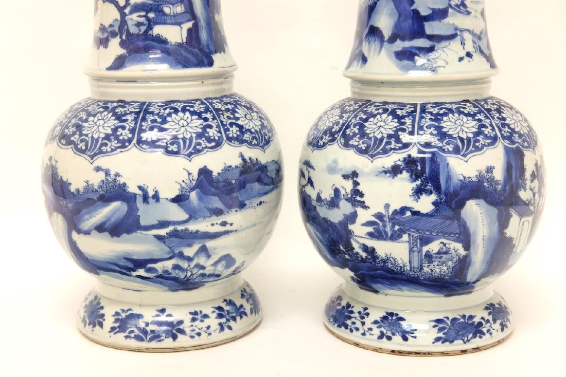 Chinese Pair of Blue-white Vases - 15