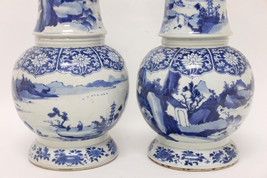Chinese Pair of Blue-white Vases - 6