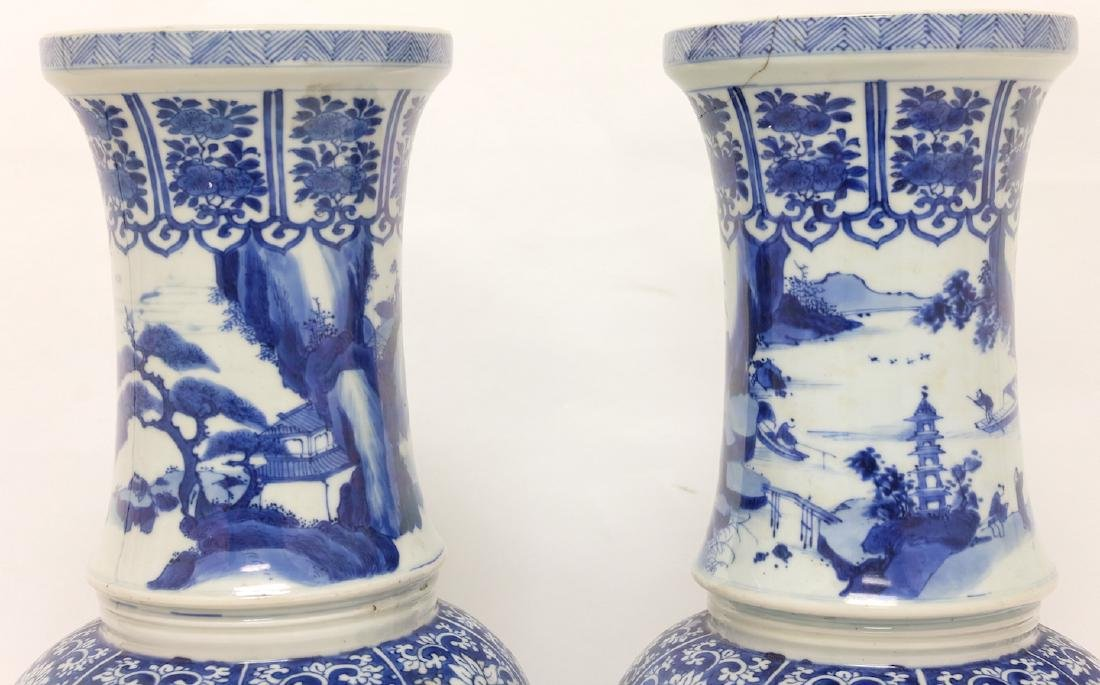 Chinese Pair of Blue-white Vases - 7