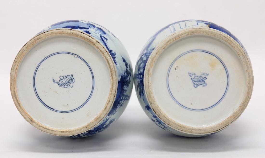 Chinese Pair of Blue-white Vases - 9