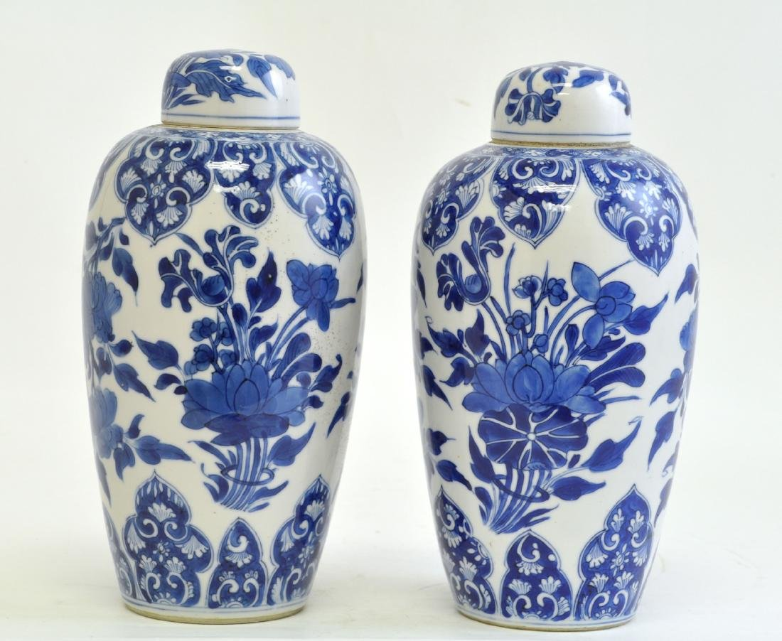 Chinese Pair of Blue-white Lidded Jar