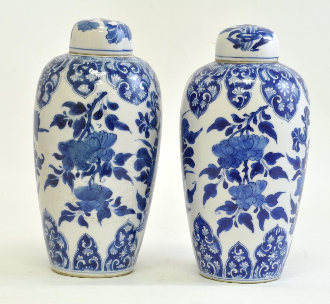 Chinese Pair of Blue-white Lidded Jar - 2