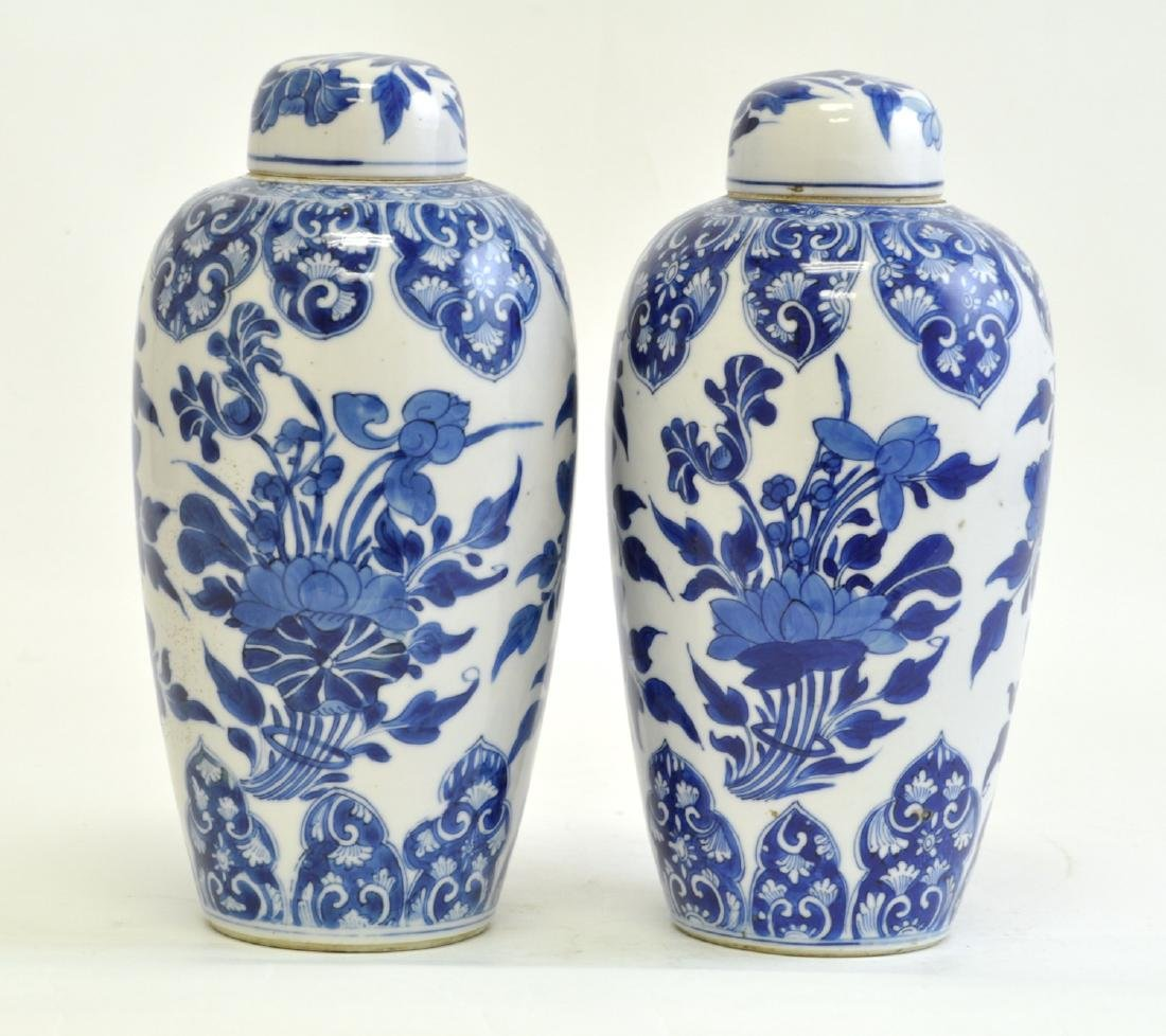 Chinese Pair of Blue-white Lidded Jar - 3