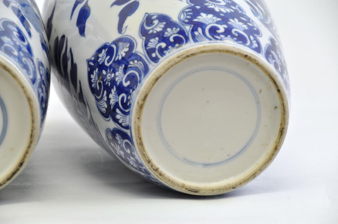 Chinese Pair of Blue-white Lidded Jar - 5