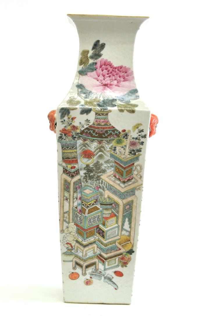 Chinese Large Famille Noire Square Vase