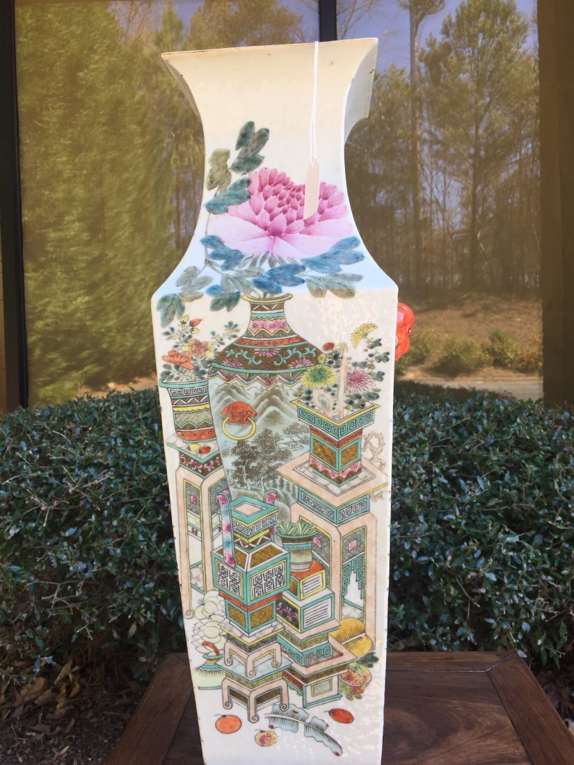 Chinese Large Famille Noire Square Vase - 9