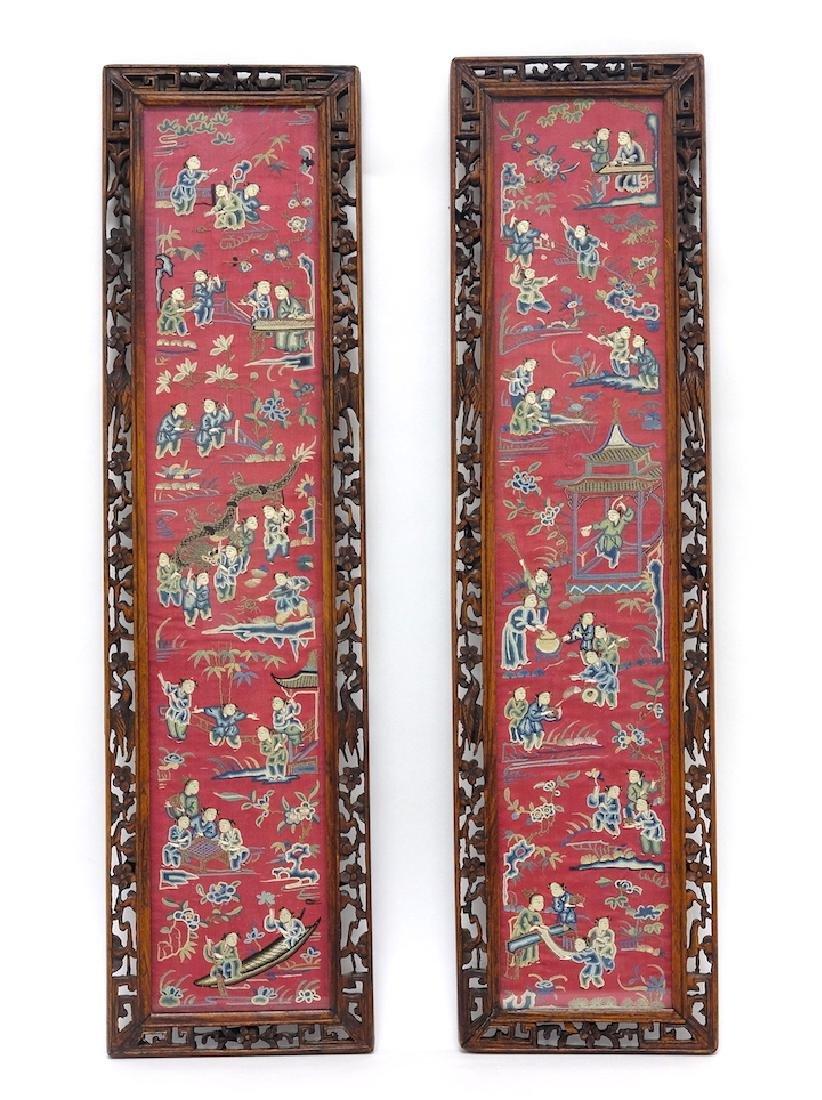 Chinese Pair of Framed Kesi