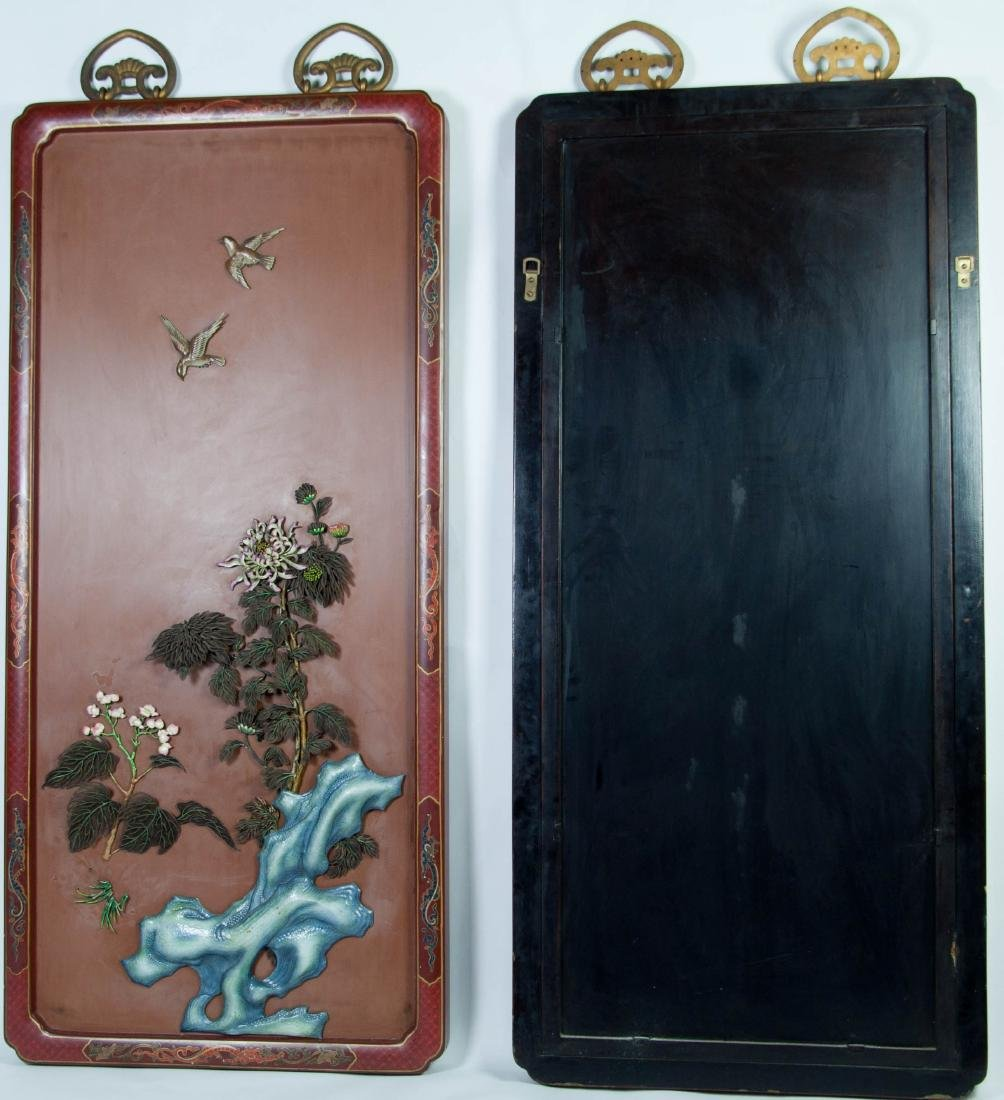 Chinese Extra Large Pair of Enameled Silver Plaque - 10