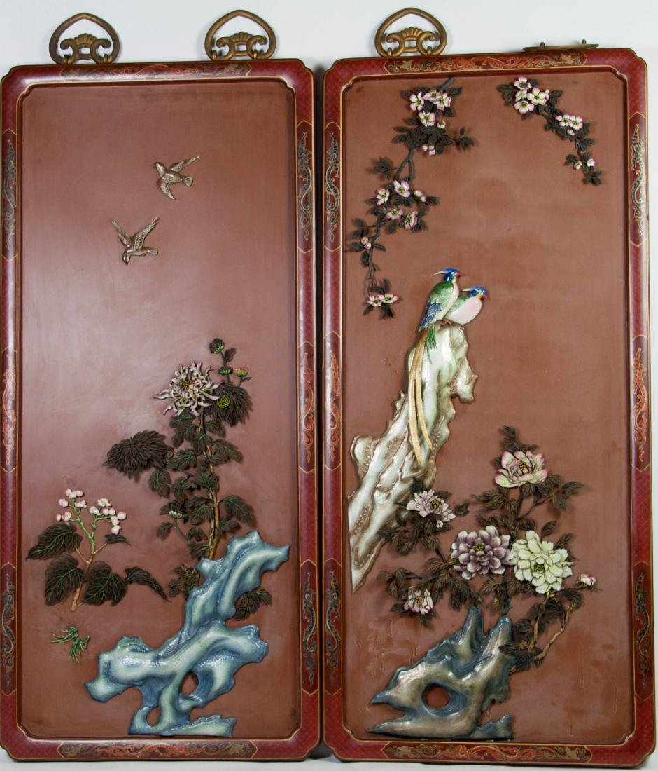 Chinese Extra Large Pair of Enameled Silver Plaque