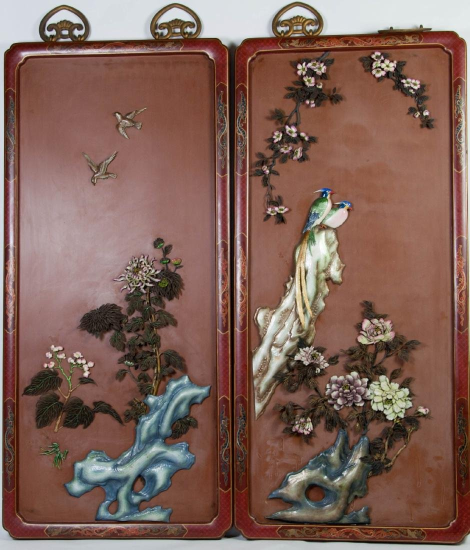 Chinese Extra Large Pair of Enameled Silver Plaque - 2