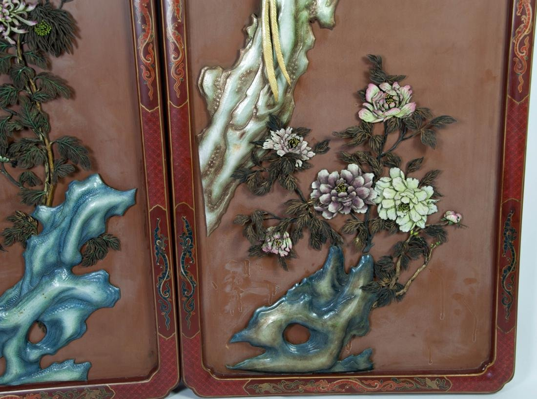 Chinese Extra Large Pair of Enameled Silver Plaque - 4