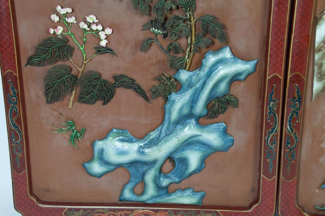 Chinese Extra Large Pair of Enameled Silver Plaque - 7