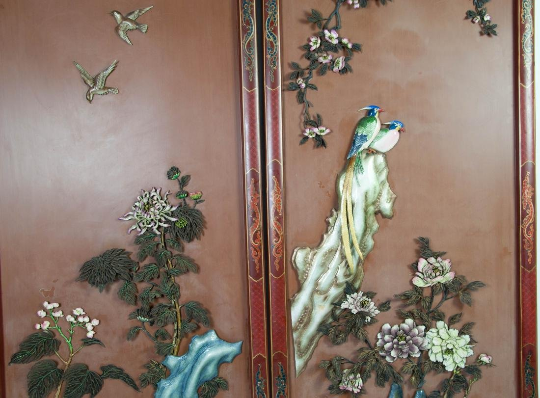 Chinese Extra Large Pair of Enameled Silver Plaque - 9