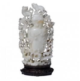 Chinese Extra Large White Jade Flower Vase