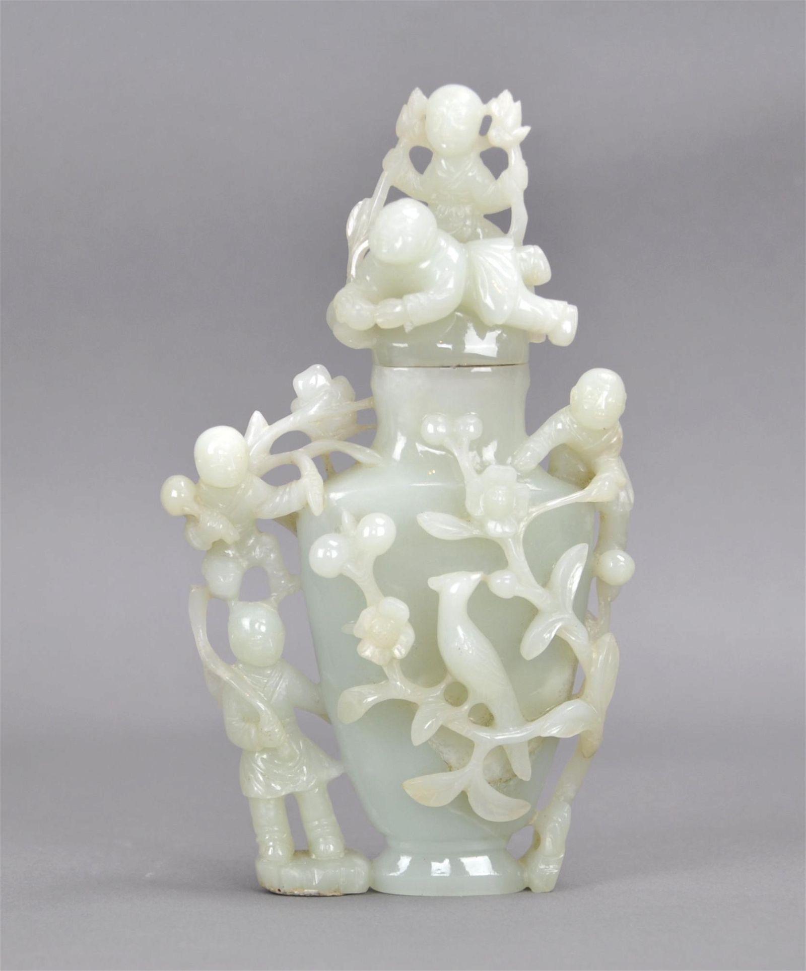 Chinese White Jade Lidded Vase